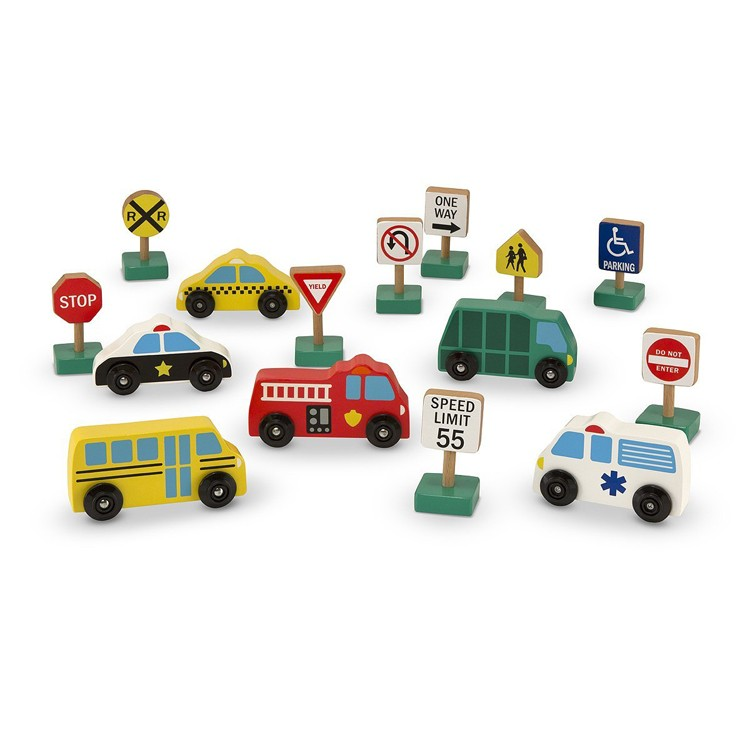 Vehicles And Traffic Signs Wooden Playset Educational
