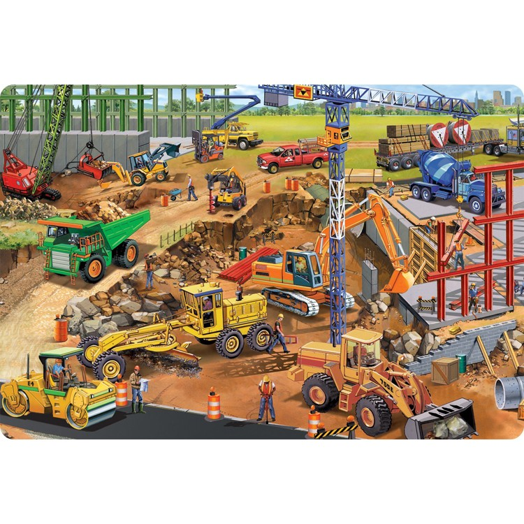 Construction Site 24 Pc Jumbo Floor Puzzle Educational