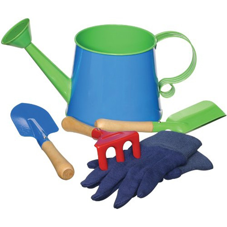 Kids gardening tools and watering can set educational for Small garden tools set of 6