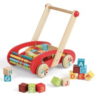 ABC Buggy Stacking Blocks Toddler Wooden Push Cart