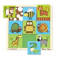Animals Peek Through Pattern Wooden Puzzle