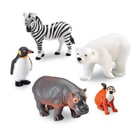 Jumbo Zoo Animals 5 pc Wild Animal Figurines Set