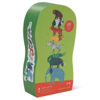 Jungle Animals 33 pc Floor Tower Puzzle in Shaped Box