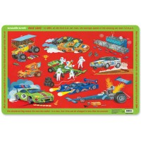 Educational Placemat for Kids - Race Cars