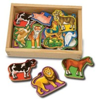 Wooden Animal Magnets 20 pc Play Set