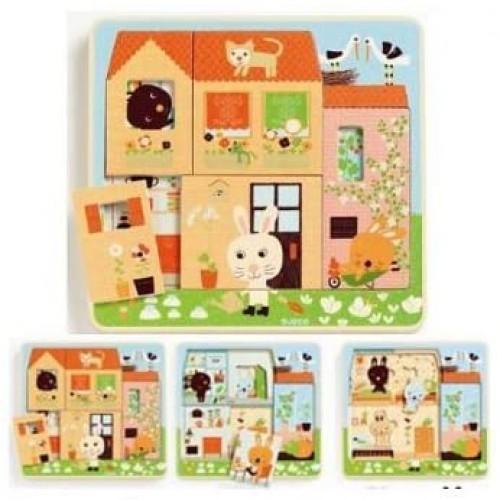 Djeco Dj01480 3 Layer Puzzlechez Carrot Puzzle