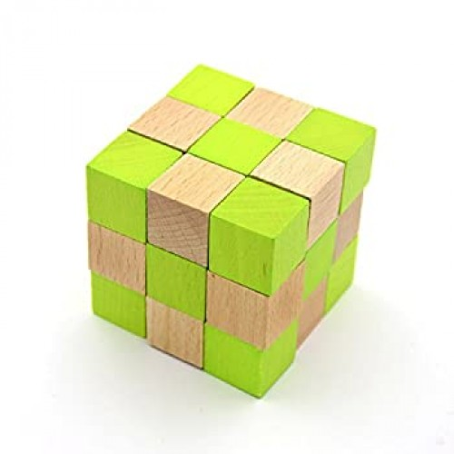 Kingou Wood Snake Cube Puzzle Brain Teaser Toy Soma Games For Adults
