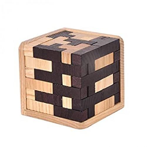 Kingou Wooden Tetris Puzzle Cube 3D Brain Teaser Puzzles 54 Pieces Tshaped Blocks Creative