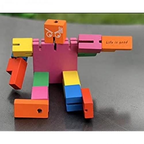 Tkmom Life Is Good Brain Teaser Wooden Robot Transformer Toy Multicolor Tetris Twister Cube