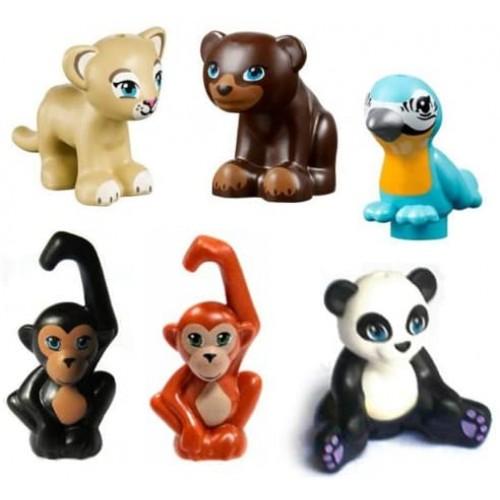 Lego 6 Pcs New Friends Zoo Jungle Lot Monkey Panda Parrot Bird Bear Lion Tiger Animal Minifigure