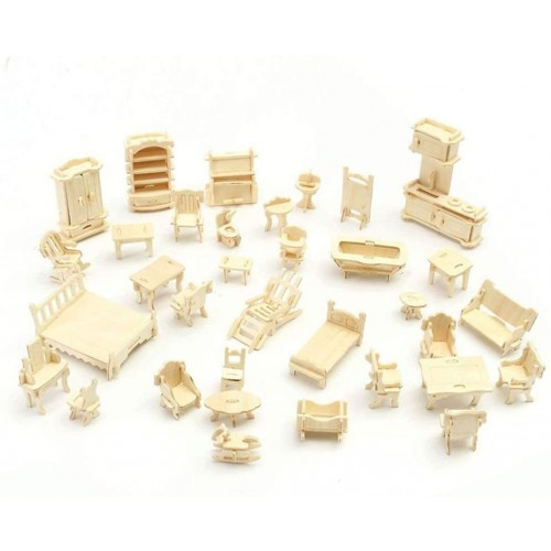 3D Wooden Furniture PuzzleScale Miniature Jigsaw Doll House Toysdiy Craft Coloring Assembly