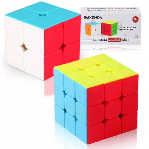 Roxenda Speed Cube Set Of 2x2x2 3x3x3 Stickerless Magic Enhanced Edition With Gift