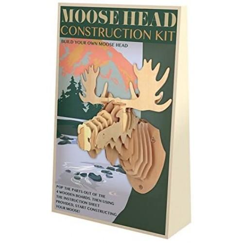 Moose Head 3D Wooden Construction Puzzle