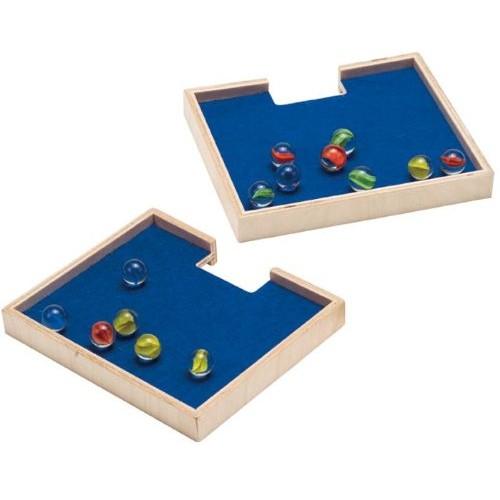 Quadrilla Marble Catchers 2 Wooden Trays Set