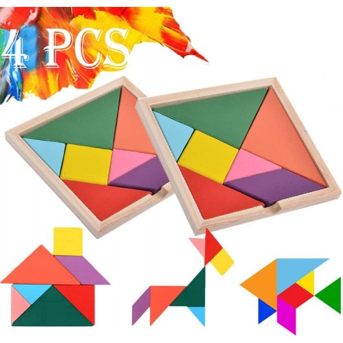 Wooden Tangrams Puzzles 28 Pieces Tangram Puzzle Book Set Toy Colorful Educational