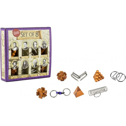 Great Brain Teaser Puzzle Set 8 Piece 4 x Wooden And Metal Entanglement