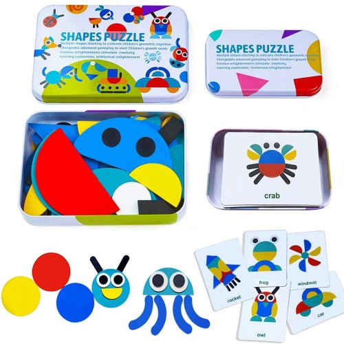 Wooden Pattern Blocks Animals Jigsaw Puzzle Sorting And Stacking Games Montessori Educational Toys