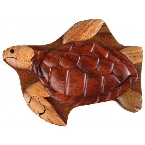 Sea Turtle Wood Box Hand Carved With Hidden Compartment 4 Parts Assemble Like A Puzzle 55 x