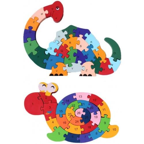 Lovestown 2Pcs Wooden Animal Puzzles Alphabet Jigsaw Puzzle Building Blocks