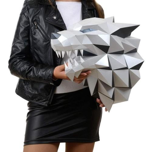 Paperraz Diy 3D Wolf Head Animal Papercraft Building Kit Wall Mount No Scissors