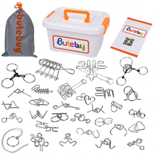 Sea Team 30Pack Assorted Brain Teasers Metal Wire Iq Puzzles With Plastic Box Package Great