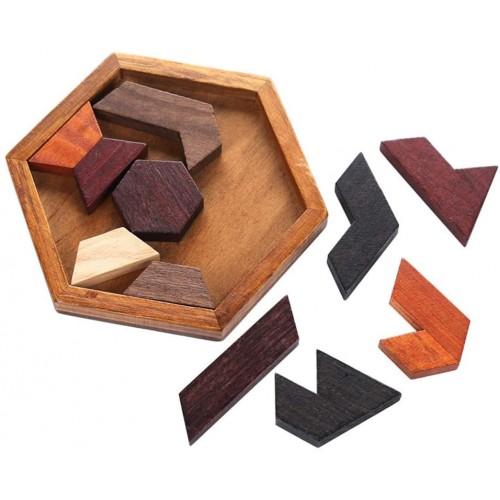 Hexagon Tangram Classic Handmade Wooden Puzzle For Children And Adults Brain Teaser Disentanglement
