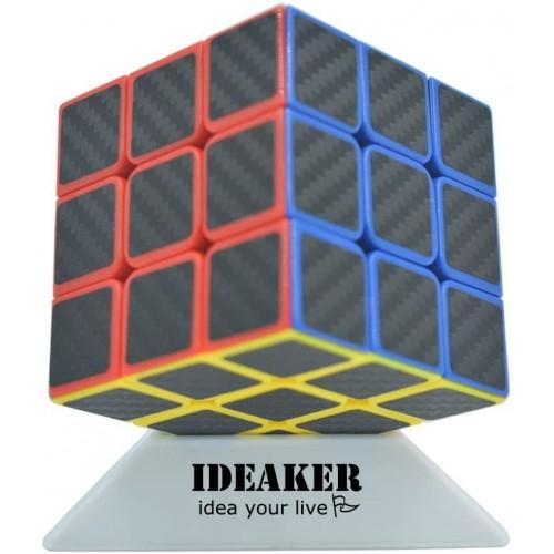 Ideaker Puzzle Cube 3x3x3 3D Carbon Fiber Sticker Speed Smooth Magic Black