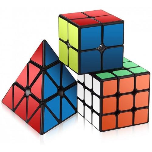 Speed Cube Set Roxenda Magic Of 2x2x2 3x3x3 Pyramid Smooth Puzzle