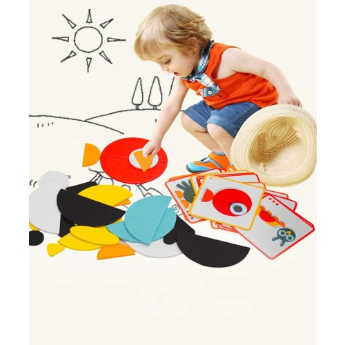 120 Pieces Color Plastic Pattern Blocks With 20 Animal Patterns Cards For Children Early