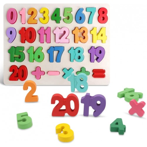 Wooden Number Puzzles Preschool Educational Learning Board Toys For 25 Years Old Kids