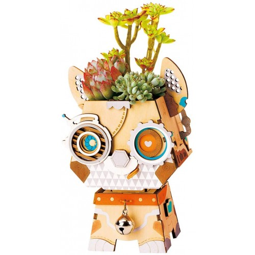 Funrarity Lovely Flower Potsplanters Container For Succulents Plantsself Assembly 3D Wooden Puzzle