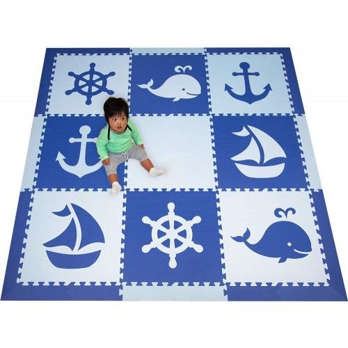 Softtiles Interlocking Foam Playmats Nautical Ocean Theme For Baby Nursery And Childrens Playroom