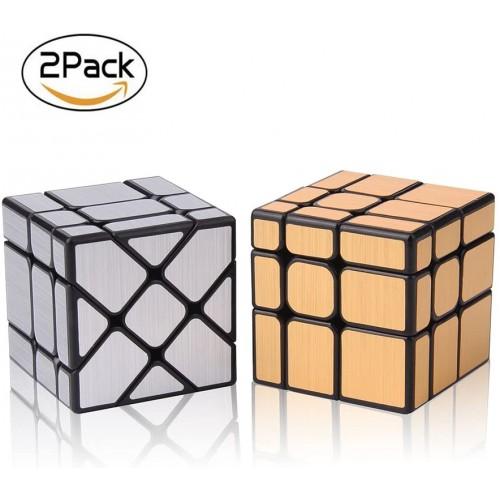 Roxenda Speed Cube Set Magic Bundle Of Gold Mirror S And Silver Windmirror Irregular