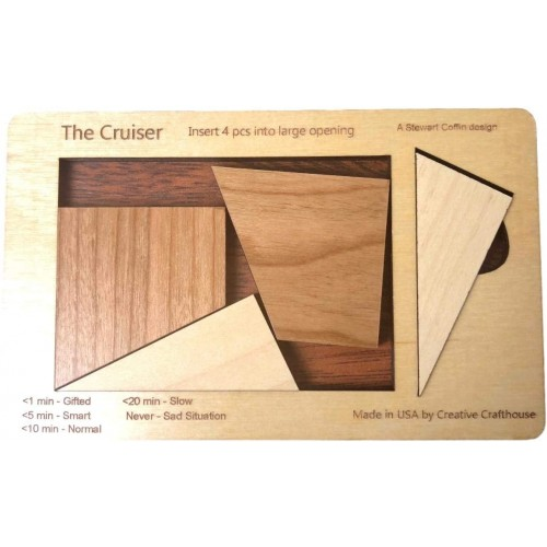Cruiser 4 Pc Wood Brain Teaser Puzzle Size Small Design By Stewart