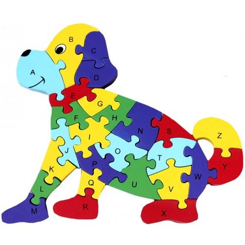 Queena Wooden Building Jigsaw Puzzle 26 English Alphanumeric Numbers Children Educational Blocks