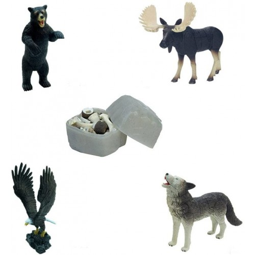 Assorted 4Pcsset Of North American Animal Puzzles Toys For Toddlers Moose Bear Eagle Wolf Models