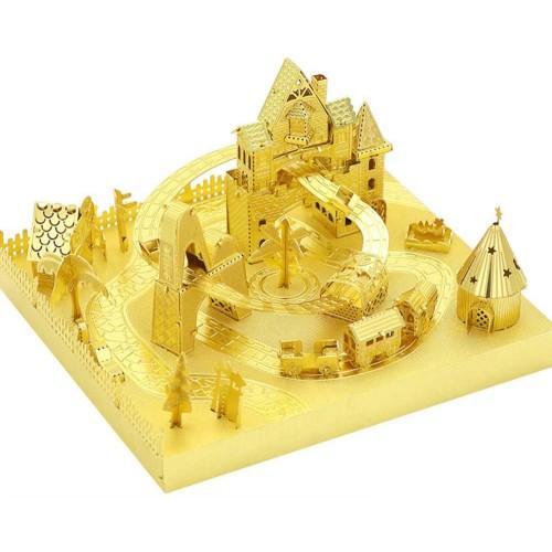 My Amusement Park Roller Coaster 3D Metal Puzzle Assemble Model Kits Diy Laser Cut Jigsaw Toy