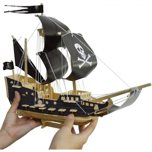 Pirate Ship Puzzle And Motorcycle Puzzles Wooden Building Blocks Toys Diy Stereo Model
