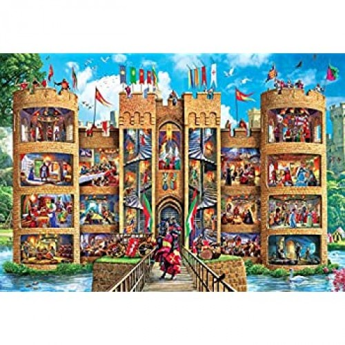 Masterpieces Ezgrip Cutaways Extra Large Jigsaw Puzzle Medieval Castle Featuring Art By Steve Crisp