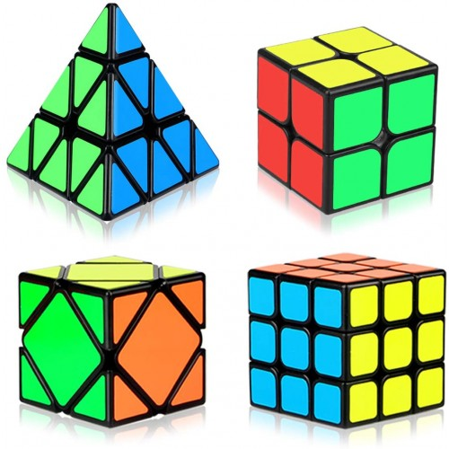 Aitey Speed Cube Set Magic Bundle 2x2x2 3x3x3 Pyramid Skew Smooth Sticker Cubes