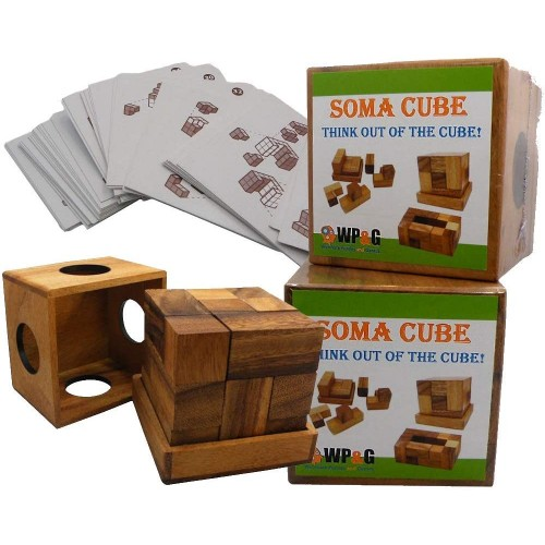 Soma Cube Puzzle Wooden With 50 Playing Cards 3D Brain Teaser In A Large