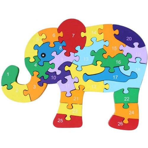 Kennedy Children 26 English Alphabet Cognitive Puzzle Block Toy Wooden Dinosaur Elephant