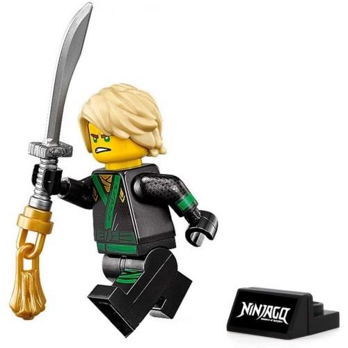 Lego The Ninjago Movie Minifigure Lloyd Green Ninja With Hair Sword And Display Stand