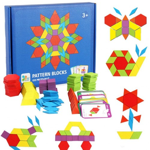 155 Pcs Wooden Pattern Blocks Set Geometric Shape Puzzle Kindergarten Classic Educational