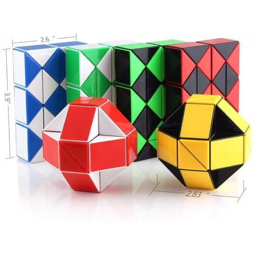 Ganowo 6Pcs Big Size Snake Cube Fidget Sensory Toy Ruler Twisty Puzzle Brain Teaser Game Easter