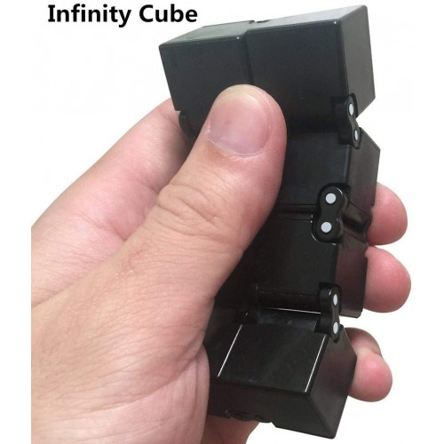 Black Infinity Cube By Duddy Pro Desk Toy For Focus And Concentration Premium Spinner Abs