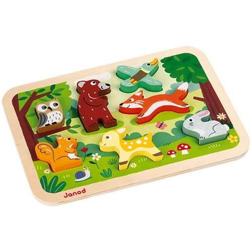 Janod Chunky Stand Up Puzzle 7 Piece Colorful Wooden Forest Animal Themed Jigsaw Encourages