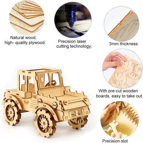 3D Wooden Puzzle For Adults Car Model Wood Crafts Laser Cut Jigsaw Toys Kits