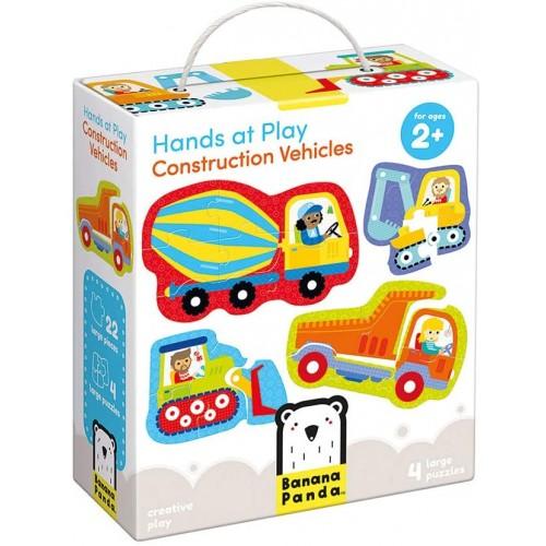 Banana Panda Hands At Play Construction Vehicles Jigsaw Puzzle Set Includes 4 Large Progressive