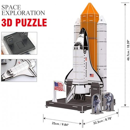 Cubicfun 3D Kids Space Ship Puzzle Model Kits Toys With National Geographic Nasa Booklet For